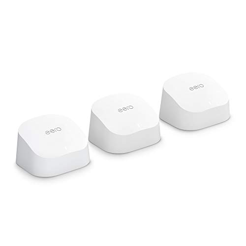 Introducing Amazon eero 6 dual-band mesh Wi-Fi 6 system with built-in Zigbee smart home hub (3-pack, one eero...