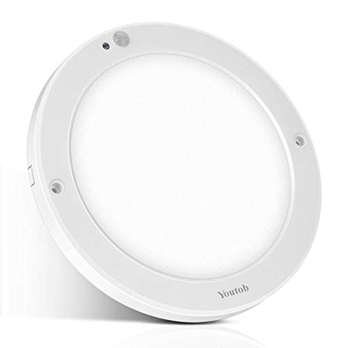 Youtob Motion Sensor LED Ceiling Light 15W 1200LM Flush Mount Round Lighting Fixture for Indoor/Outdoor,...
