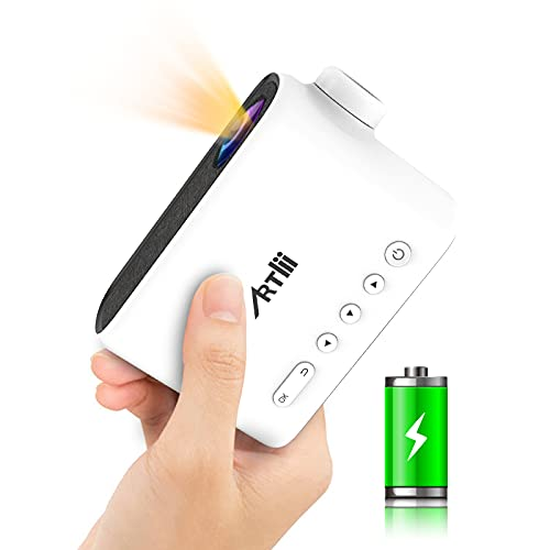 Mini Projector with Battery, 2021 Artlii Q Portable Projector with WiFi and Bluetooth, 1080p Full HD...