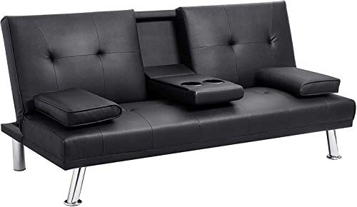CLTR Leather, Convertible futon Bed, for Living Room, Sofa with armrest and Recliner, with Cup Holder-Black,...