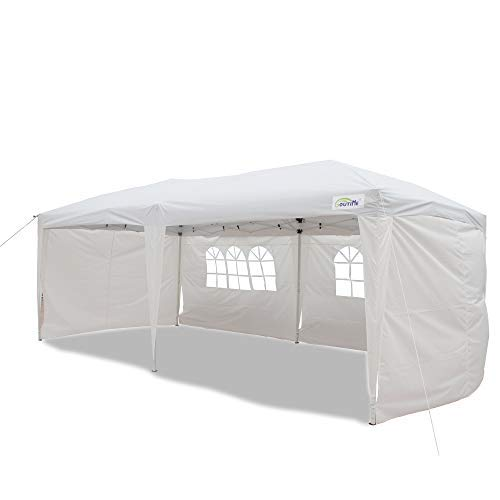 Goutime 10x20 Feet Ez Pop Up Canopy Instant Tent Shelter with 4Pcs 10Ft Removable Sidewalls for Outdoor...