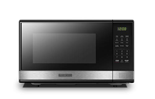 BLACK+DECKER EM031MB11 Digital Microwave Oven with Turntable Push-Button Door, Child Safety Lock, 1000W,...