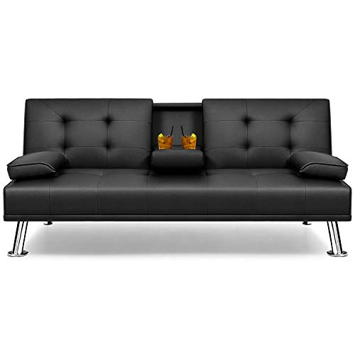 Flamaker Futon Sofa Bed Modern Faux Leather Couch, Convertible Folding Recliner Lounge Futon Couch for Living...