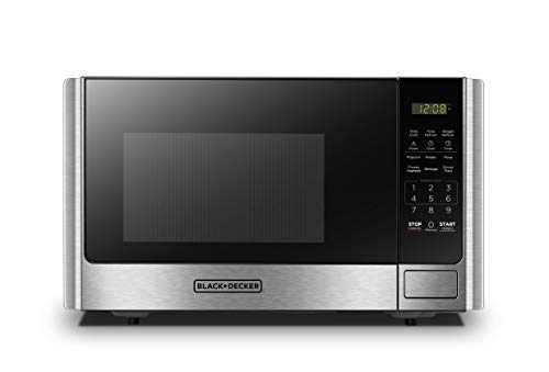 BLACK+DECKER Digital Microwave Oven with Turntable Push-Button Door, Child Safety Lock, Stainless Steel, 0.9...