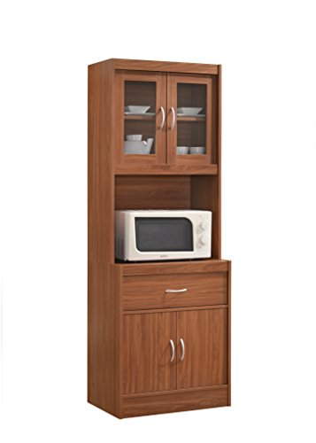 Hodedah Long Standing Kitchen Cabinet with Top & Bottom Enclosed Cabinet Space, One Drawer, Large Open Space...