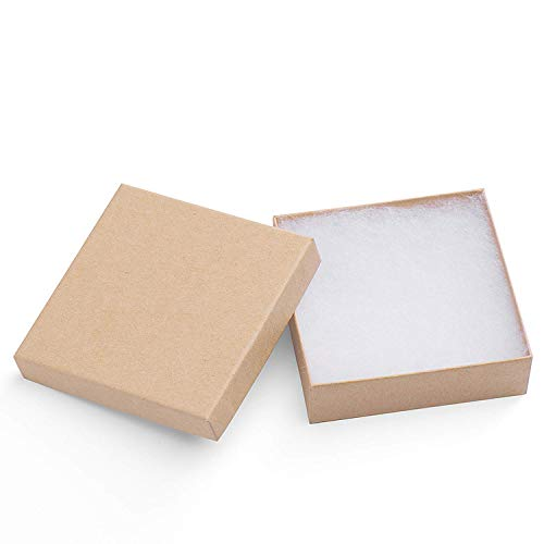 Mesha 20-Pack 3.5X3.5X1 Inch Cardboard Jewelry Boxes, Thick Paper Box Bulk for Jewelry Gift...