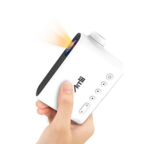 Portable Projector with Battery, Artlii Q Mini Pico Projector for Outdoor Movies and Cartoons, Small...