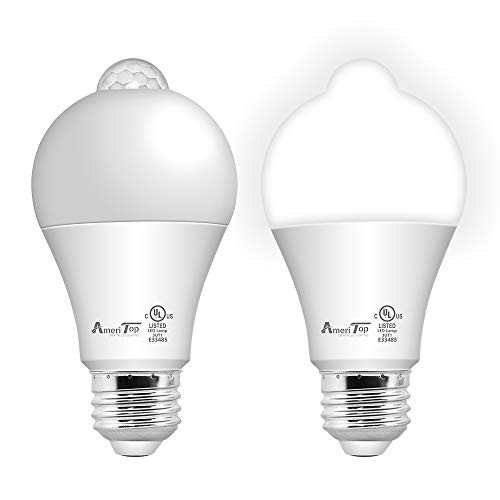 Motion Sensor Light Bulb- 2 Pack, AmeriTop 10W(60W Equivalent) 806lm Motion Activated Dusk to Dawn Security...