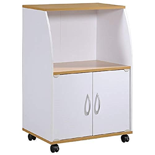 Hodedah Mini Microwave Cart with Two Doors and Shelf for Storage, White + Beech