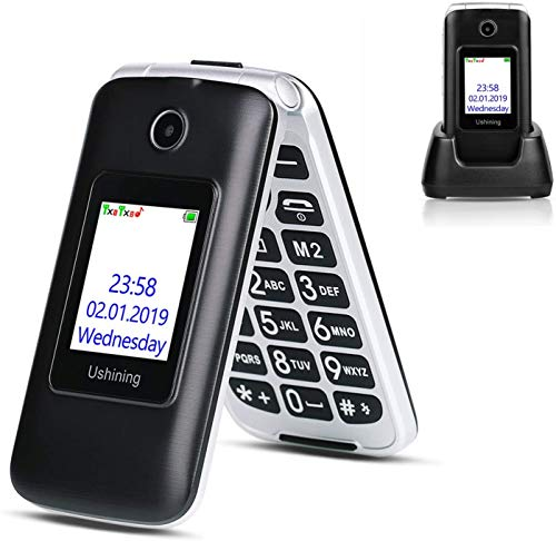 Ushining 3G Unlocked Flip Cell Phone for Senior & Kids, Easy-to-Use Big Button Cell Phone with Charging Dock,...