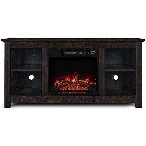 BELLEZE 50' Traditional TV Console Stand with Electric Fireplace Heater for TV's Up to 55' - with Remote...