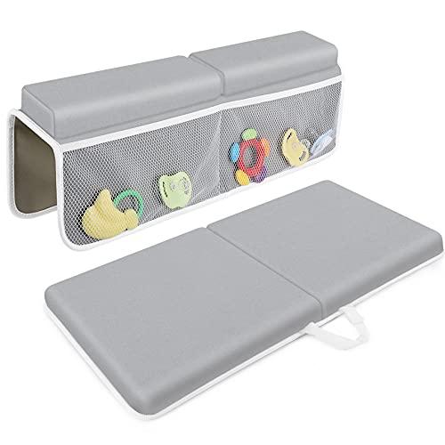 Bath Kneeler with Elbow Rest Pad Set, JJGoo 1.5 inch Thick Kneeling Pad Mat for Baby Bathtub, Bath Kneeler...