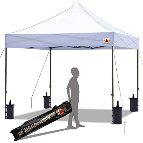 ABCCANOPY Pop up Canopy Tent Commercial Instant Shelter with Wheeled Carry Bag, Bonus 4 Canopy Sand Bags,...