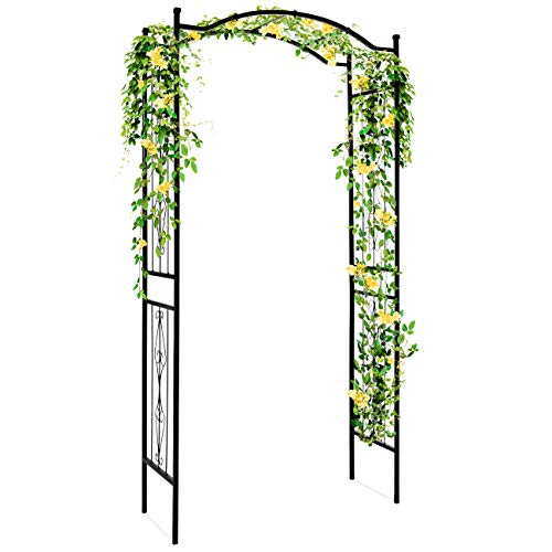 Best Choice Products Decorative Steel Garden Arch Arbor Trellis for Climbing Plants w/ 92-inch Height and Wire...