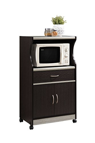 Hodedah Import Microwave Cart with One Drawer Kitchen Cabinet, CHOCOLATE-GREY