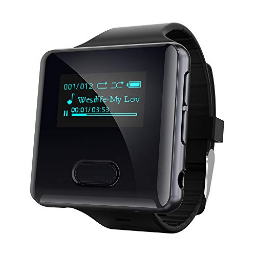 wiwoo Clip MP3 Player with Bluetooth,16GB Running Bluetooth MP3 Player Watch with FM Radio Pedometer Vioce...