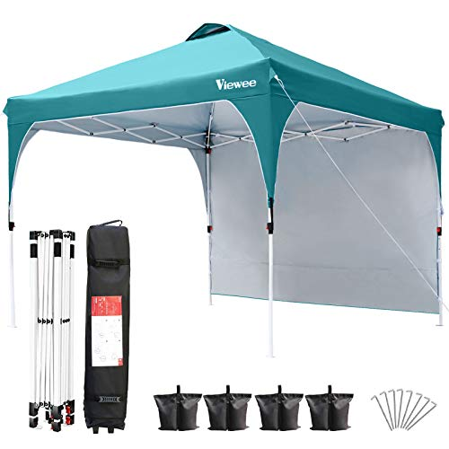 Viewee Canopy Tent with Side Wall 10' x 10' Anti-UV, Pop-up Canopy Impermeable, Shelter Canopy Adjustable...