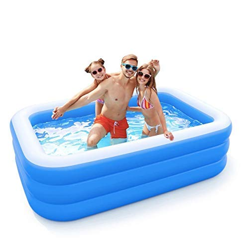 Inflatable Pool for Adults, Kids, Family Kiddie Swimming Pool - Blow Up Rectangular Large Above Ground Pool...