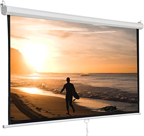 SUPER DEAL 120'' Projector Screen Projection Screen Manual Pull Down HD Screen 1:1 Format for Home Cinema...