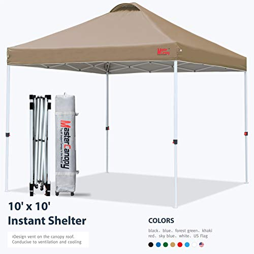 MASTERCANOPY Pop-up Canopy Tent Commercial Instant Canopy with Wheeled Bag,Canopy Sandbags x4,Tent...