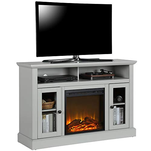 Ameriwood Home Chicago TV Stand with Fireplace, Dove Gray
