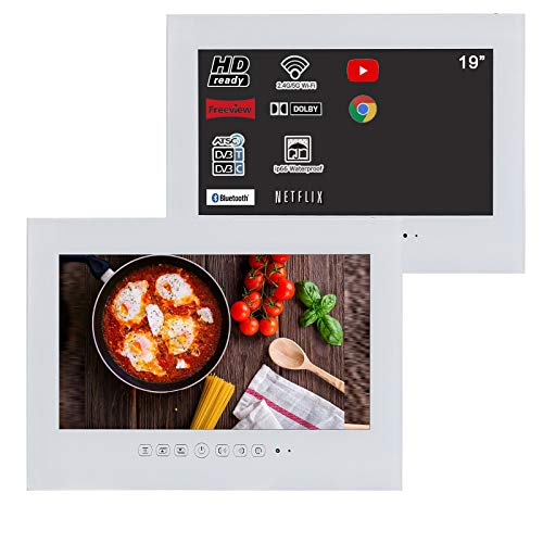 Soulaca 19 inches White Bathroom LED Smart Android 9.0 TV Interior Shower TV Waterproof