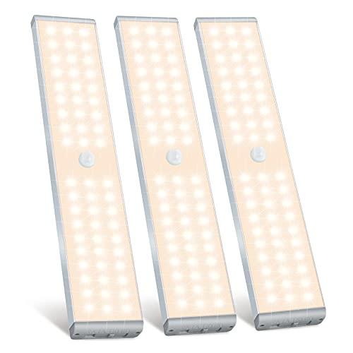 LED Closet Light, Sunnest 60 LED Rechargeable Motion Sensor Closet Light Under Cabinet Light, Dimmable...