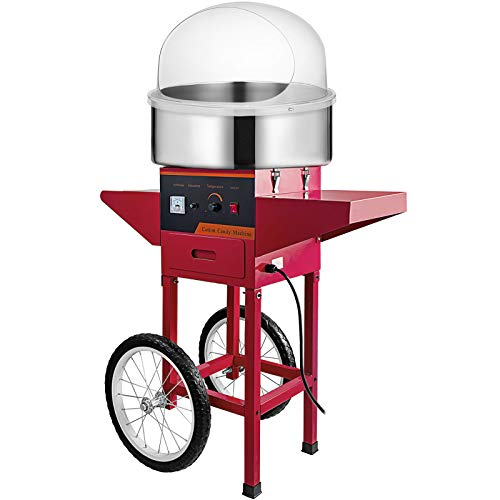 VBENLEM Commercial Cotton Candy Machine with Bubble Cover Shield and Cart Electric Cotton Candy Machine 1030W...