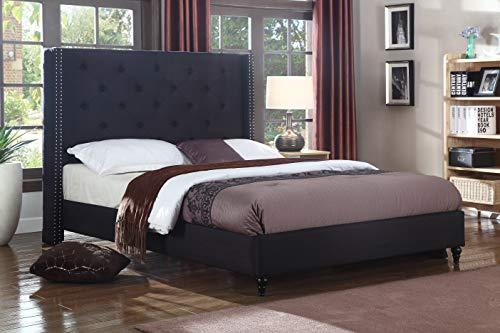 Best Master Furniture Vero Tufted Wingback Platform Bed, Cal King Black