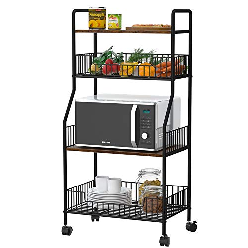 Homfio Microwave Stand 4 Tier Kitchen Baker's Rack Kitchen Organizer Rack Utility Rolling Cart Storage Shelf...