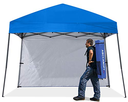 ABCCNAOPY Outdoor Pop Up Canopy Beach Camping Canopy with 1 Sun Wall, Bonus Backpack Bag, Stakes and...