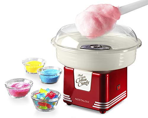 Nostalgia PCM405RETRORED Hard and Sugar Free Countertop Cotton Candy Maker, Includes 2 Reusable Cones and...