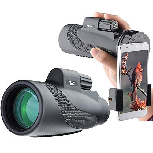 Gosky Titan 12X50 High Power Prism Monocular and Quick Smartphone Holder - Waterproof Fog- Proof Shockproof...