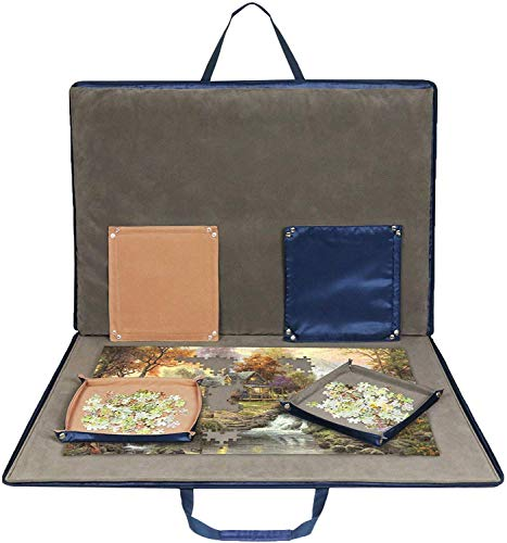 Lavievert Jigsaw Puzzle Case Portable Puzzle Storage Puzzle Board with Six Sorting Trays for Up to 1,500...