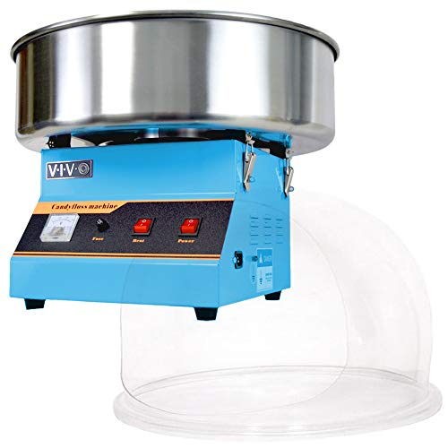 VIVO Blue Electric Commercial Cotton Candy Machine/Candy Floss Maker with Bubble Shield CANDY-KIT-1B