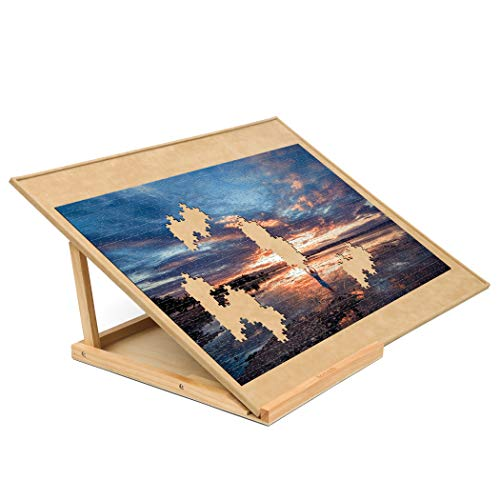 Becko Wooden Puzzle Board with Easel Adjustable Puzzle Board & Bracket Set Jigsaw Puzzle Plateau for Adults...
