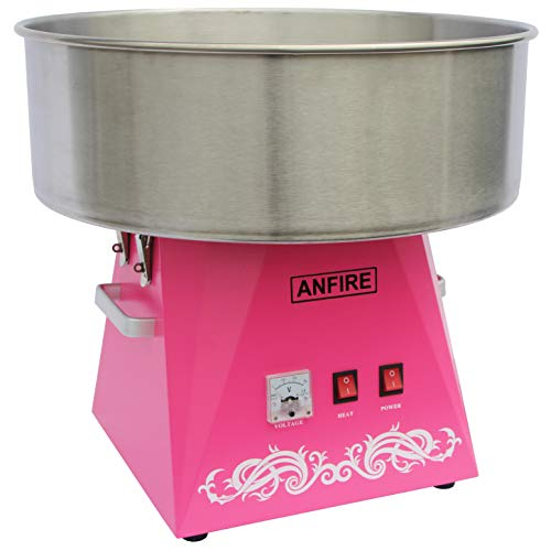 ANFIRE Commercial Electric Cotton Candy Machine Pink Candy Floss Maker for Kits or Party - Includes 10 Cones &...