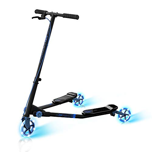 Yvolution Neon Fliker DLX | Self Propelling LED Wiggle Scooter with Light Up Wheels for Kids Age +7 (Blue)