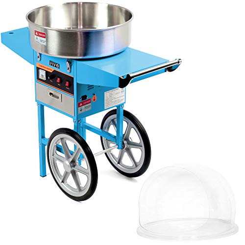 VIVO Blue Electric Commercial Cotton Candy Machine/Candy Floss Maker, Mobile Cart with Bubble Shield...