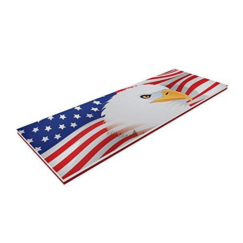 Floatation iQ Floating Oasis 15 x 6 Foot Foam Island Water Pool Lake Lounger Play Pad Mat, American Flag