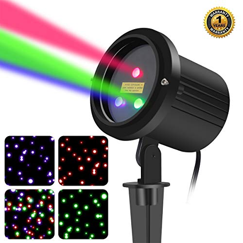 3 Color Motion Laser Christmas Lights Projector with RF Remote,Outdoor Garden Laser Lights Moving RGB Stars...