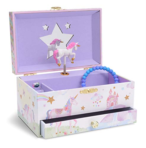 Jewelkeeper Girl's Musical Jewelry Storage Box with Pullout Drawer, Glitter Rainbow and Stars Unicorn Design,...
