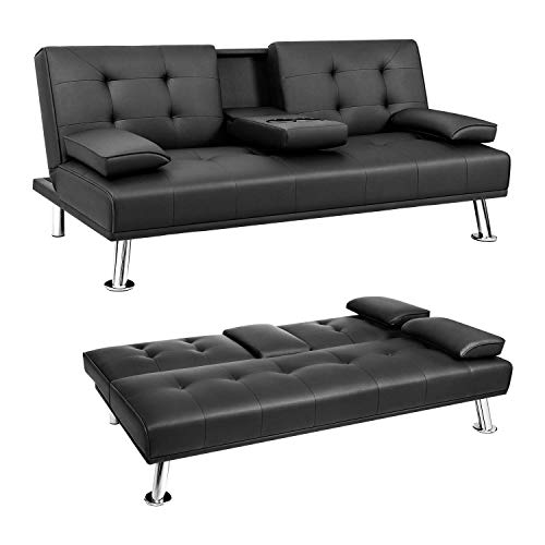 JUMMICO Futon Sofa Bed Faux Leather Couch Bed Modern Convertible Folding Recliner with 2 Cup Holders for...