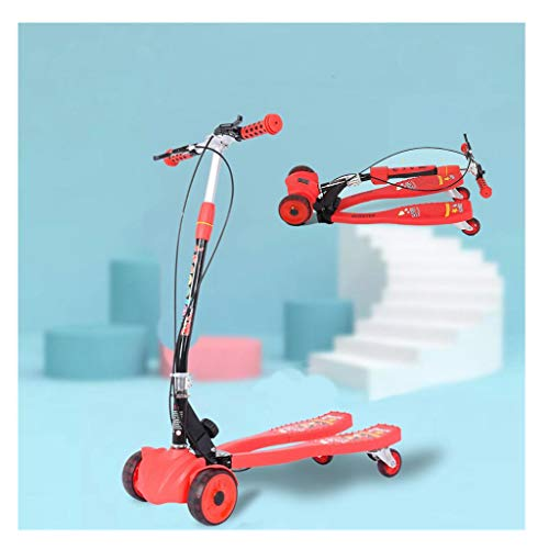 Kids Foldable Swing Scooter Adjustable Height Kick Speeder Wiggle Y Fliker Scooters Self Push Drift for...