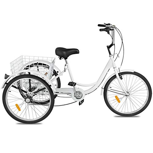 Adult Tricycles 7 Speed, Adult Mountain Trikes 24 Inch, 3 Wheel Bikes Bicycles Cruise Trike with Rear Shopping...