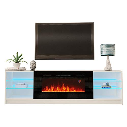 MEBLE FURNITURE & RUGS Boston 01 Electric Fireplace Modern 79' TV Stand