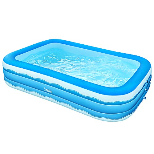 Sable Inflatable Pool, 118 x 72.5 x 20in Rectangular Swimming Pool for Toddlers, Kids, Family, Above Ground,...