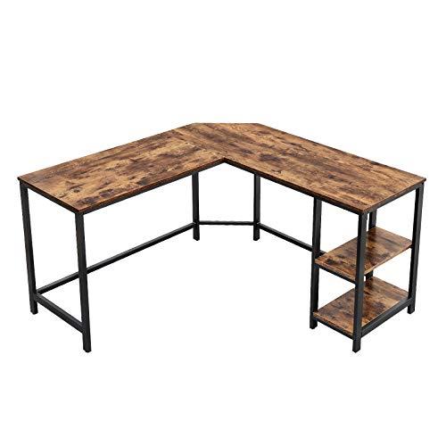 VASAGLE L-Shaped Computer Desk, Corner Desk, 54-Inch Writing Study Workstation with Shelves for Home Office,...
