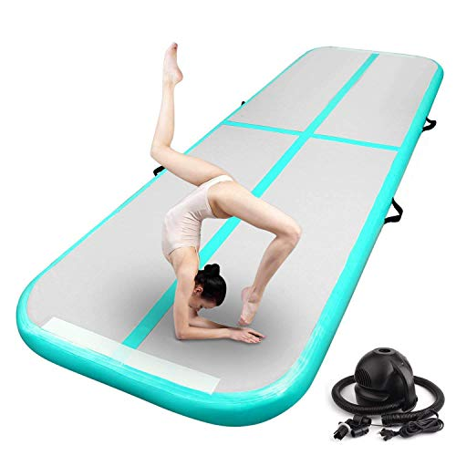 FBSPORT 10ft Inflatable Air Gymnastics Mat Training Mats 4 inches Thickness Gymnastics Tracks for Home...