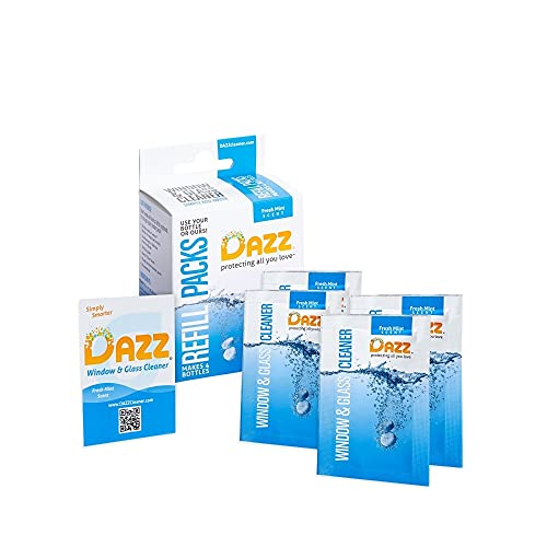 DAZZ Window and Glass Cleaner Refill Pack (Makes 4-32oz Bottles) Natural Cleaning Tablets - Streak Free, Eco...
